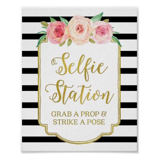 Selfie Station Sign Pink Floral Gold Black Stripes Poster