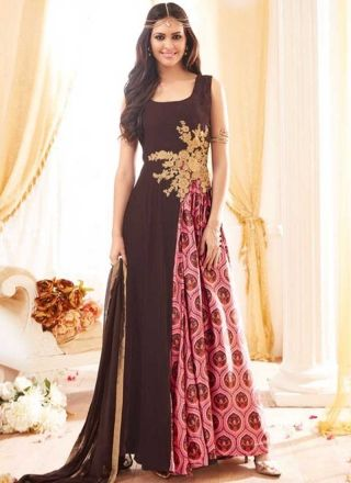 Brown Pink Embroidery Work Georgette Santoon Designer Long Anarkali Gown Suit http://www.angelnx.com/Salwar-Kameez/Anarkali-Suits