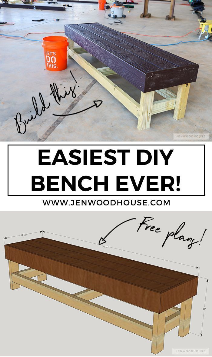 Easy Diy Bench Build The Easiest Diy Bench Ever You Just Need A Drill And A Saw Free Plans By J Diy Furniture Plans Woodworking Projects Diy Diy Wood Bench