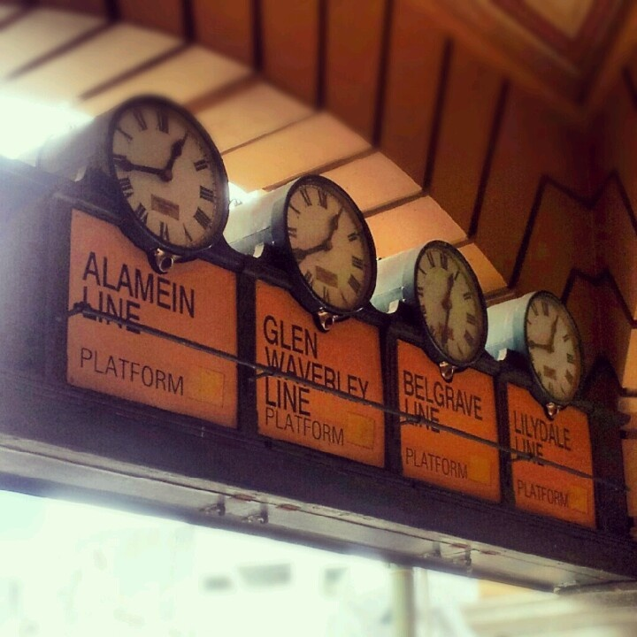 Meet me under the clocks. Flinders St. Station