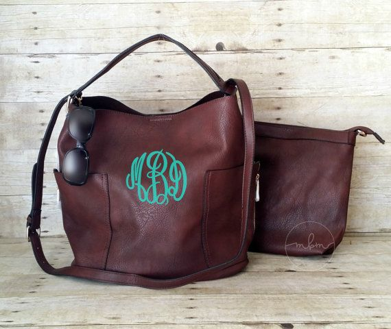 Monogram Purse  Monogrammed Coffee Purse  by MaBrownMercantile