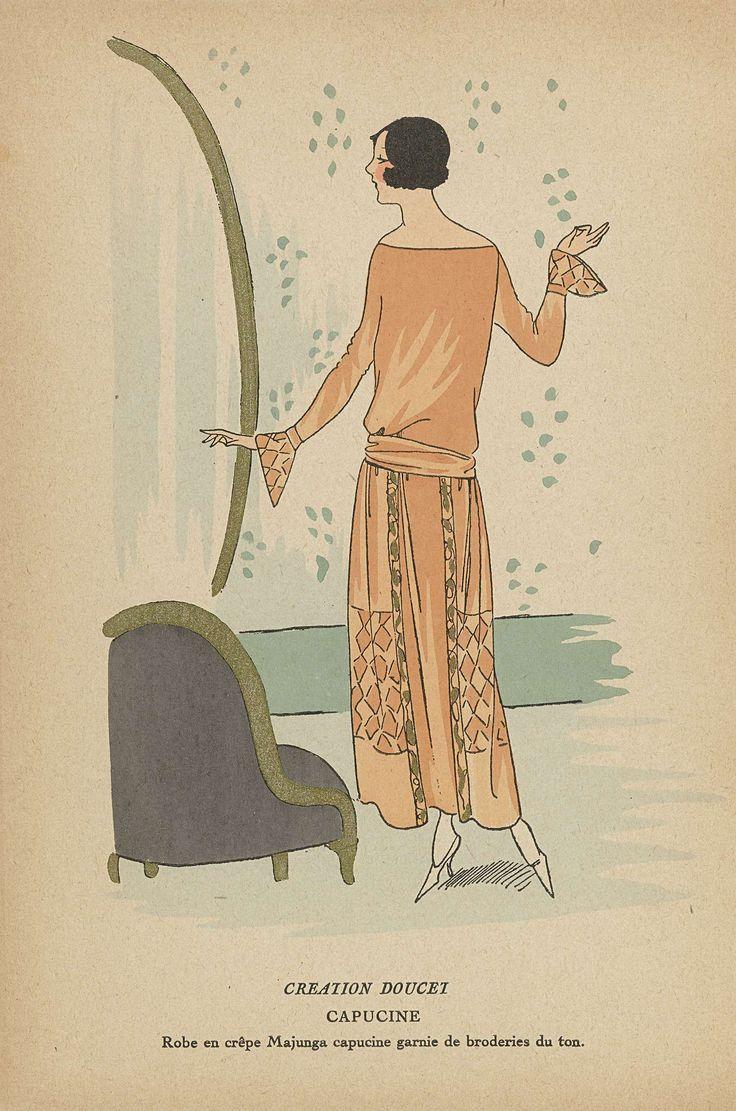 Anonymous | Très Parisien ,1923, No. 3: CREATION DOUCET: CAPUCINE..., Anonymous, Jacques Doucet, G-P. Joumard, 1923 | Ontwerp van Doucet. Jurk van 'crêpe Majunga capucine' versierd met borduurwerk in dezelfde kleur. Prent uit het modetijdschrift Très Parisien (1920-1936).