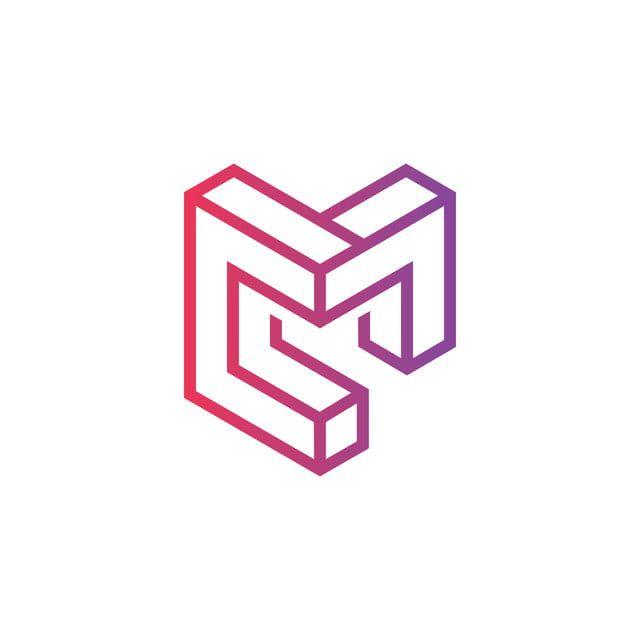 شعار الخط 3d حرف M الملونة Lettering Logo Line Logos