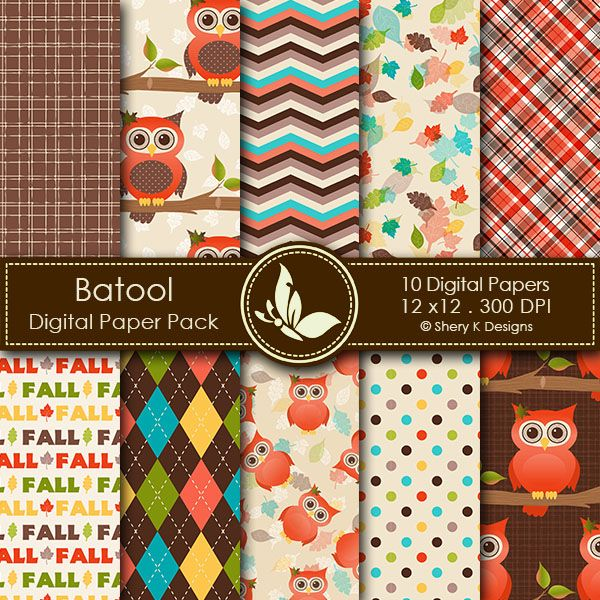 Fall Owl - 10 printable High Quality Digital papers http://www.sherykdesigns.com/shop/all-products/fall-owl/prod_286.html