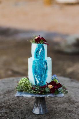 Seaside Wedding Cake.  Hand Painted Geode Wedding Cake.  Beach Wedding.  Blue Wedding Cake. Seaside Wedding Inspiration.