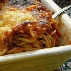 Left Over Spaghetti Lasagna (I just used the leftover spaghetti, heated it up and then made this. Curt ate 3 helpings!!)