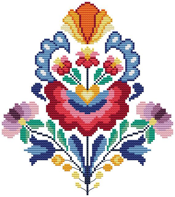Summer wycinanki flowers - cross stitch pattern. Floss: DMC Canvas: Aida 14 White Design Area: 93x105 stitches or 6,6 x 7,5 inch or 16,9 x 19,1 sm Number of colors: 17 This PDF pattern Included: - the key to the deciphering of colors DMC and symbols, the number of strands, number
