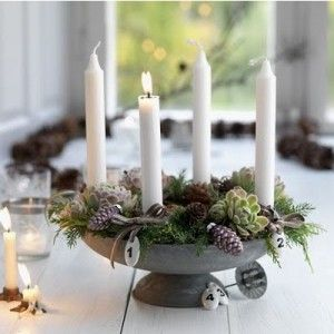 """Adventslys is four candles, traditionally purple in colour but as a modern """"all white Scandi Christmas"""" white is common, placed in the """"adventsstake"""", a tray or candleholder used for putting the candles on or in. These can be simple or decorated as you please."""