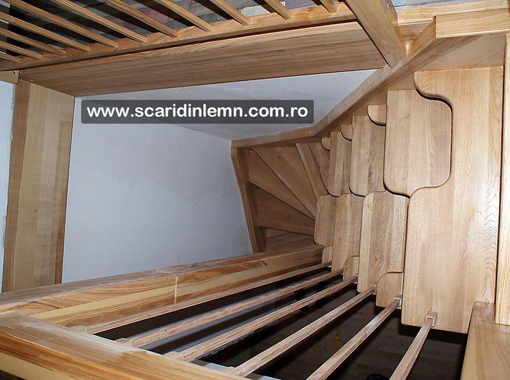 scara interioara din lemn masiv preturi cu vang si trepte cu pas combinat