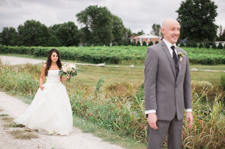 Bride and Groom's first look at winery. Groom's reaction. As seen on Style Me Pretty Stacy and Chris' Chandler Hill Vineyards Wedding — Erin Stubblefield Weddings and Portraiture | Documentary Photojournalist and St. Louis Wedding Photographer