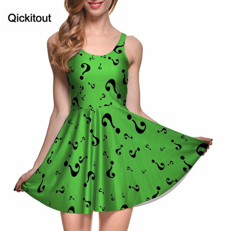 Impressão digital feminina O RIDDLER REVERSIBLE SKATER DRESS Vestidos Vestidos de roupas femininas   – Beautiful wear
