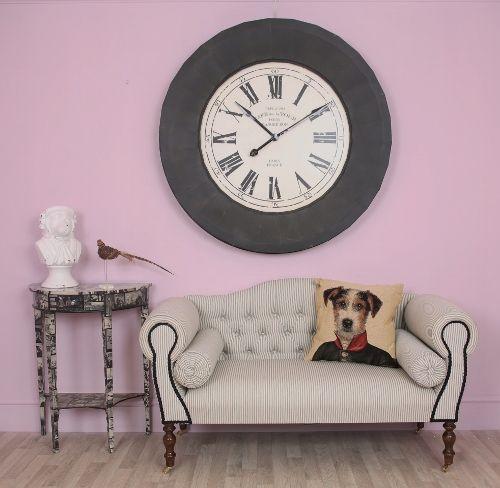 Black White Striped Antique Style Traditional Sofa - Ella