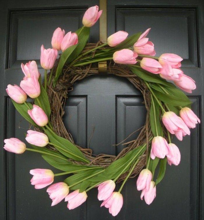 leuke roze tulpen krans voor in het voorjaar Door lautjuhhh2000.