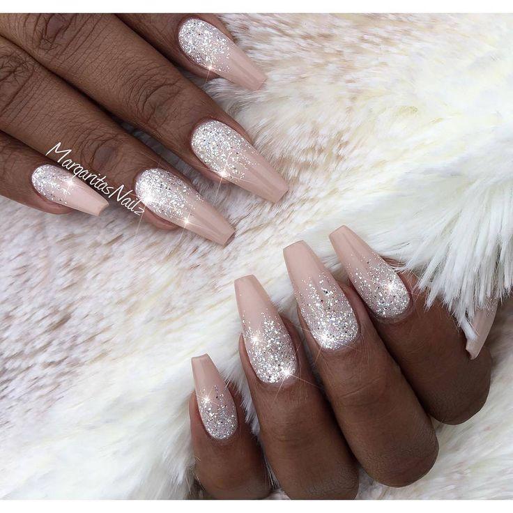 nail art design inspiration ideas DIY | #stiletto | ombre | pink | glitter | gel polish | acrylic | tutorial | easy