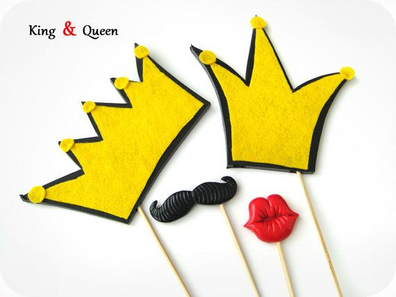 Photo Booth - King and Queen crowns, mustache and lips photo booth prop - Photo Booth Prop  - Wedding photo booth prop set