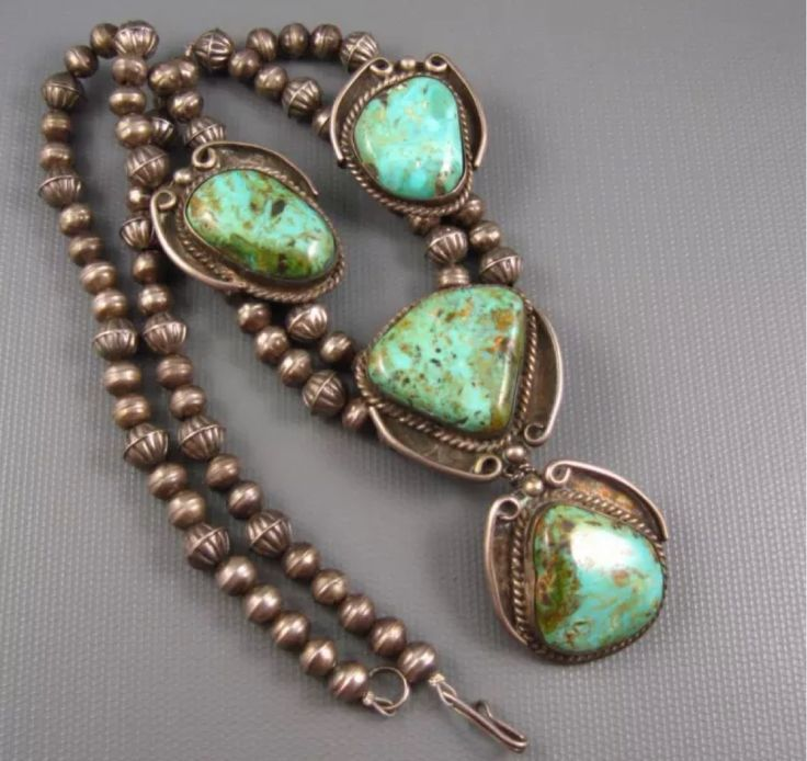 Navajo silver and green Ajax turquoise necklace