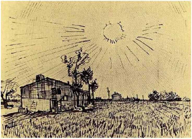 Field with Houses under a Sky with Sun Disk by Vincent Van Gogh Drawing, Pencil, pen, reed pen, brown ink Arles: March - late in month, 1888