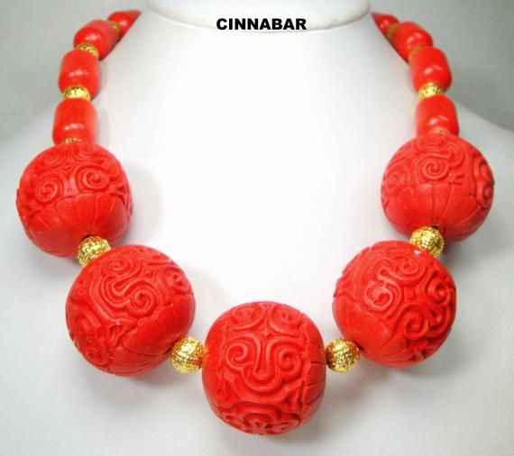 Cinnabar Red Vintage Necklace 24 inch