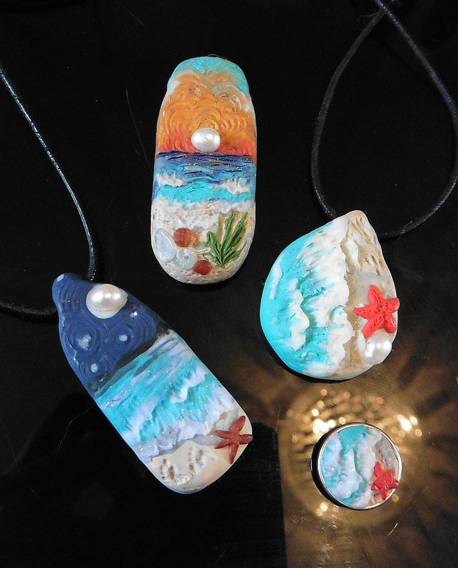 Seaside Pendants. Polymer Clay and Pearls