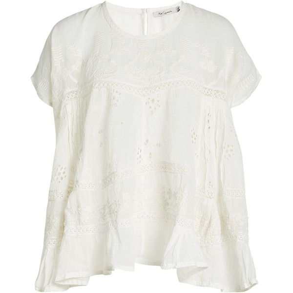 Mes Demoiselles Embroidered Cotton Top ($160) ❤ liked on Polyvore featuring tops, beige, short sleeve tops, summer tops, ruffle top, frilly tops and beige top