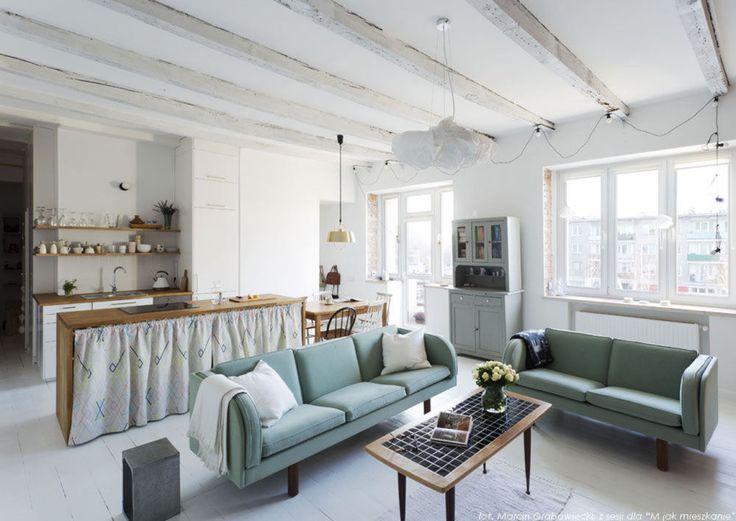Aranżacja salonu w stylu skandynawskim zobacz na myhome.pl