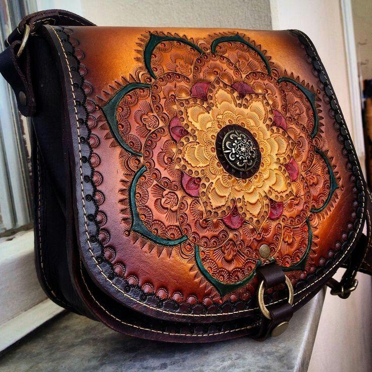 leather mandala bag