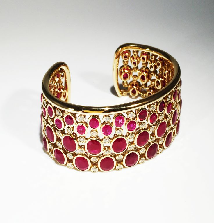 Custom Cuff. Rubies and diamonds mounted on yellow gold. Kathaline Page-Guth.