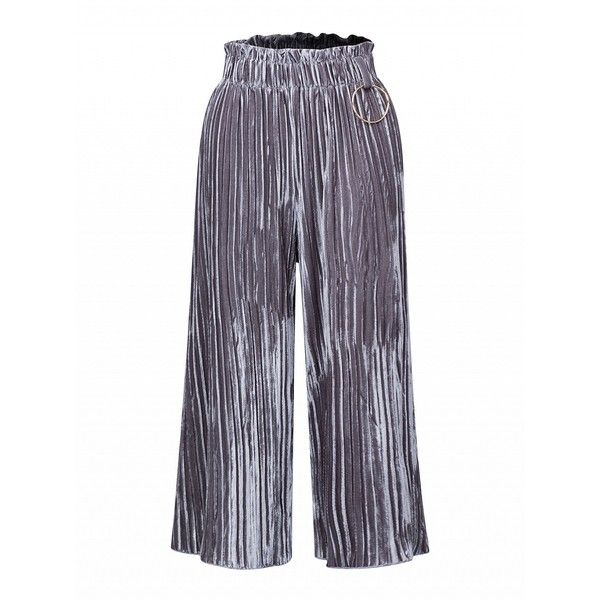 Choies Silver High Waist Velvet Pleated Palazzo Pants ($22) ❤ liked on Polyvore featuring pants, silver, high waisted pleated pants, velvet pants, high rise trousers, high-waisted trousers and pleated trousers