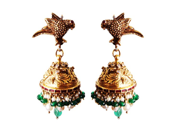 Pair of traditional bird butta earrings studded with rubies, emeralds and pearls, from Karni Jewellers.