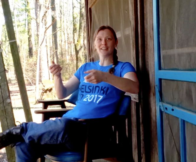 """Heather being interviewed for DVD's """"behind the scenes"""" featurette, at The Pixie House studio in Arkansas (Queens of Avalon musical, produced by Heather Dale)."""