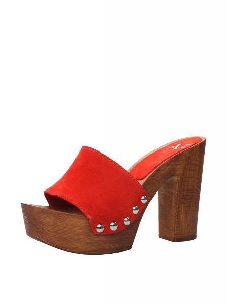Damen Clogs Schuhe Versace rotes Leder Fersen gesegnet 1969 Ohrstecker latuamoda