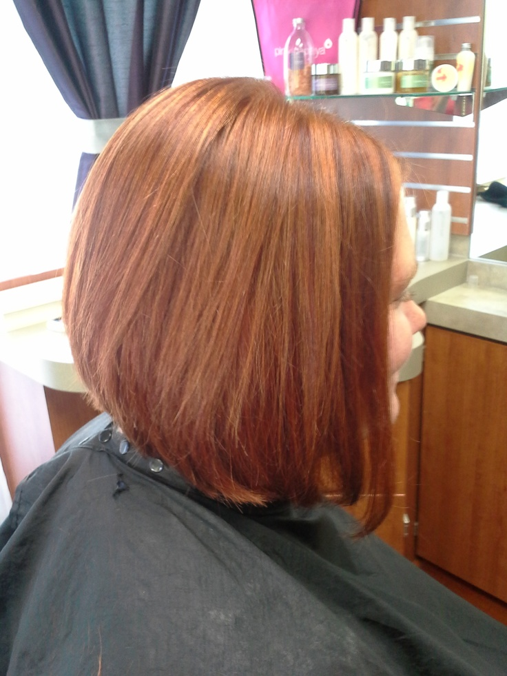 Straight Brunette Inverted Bob Haircut With Copper Red