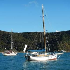Cozy in North Cove, Kawau Island NE visiting with Lin and Larry Pardey. Across Hauraki Gulf | Voyage of the SV Terrwyn