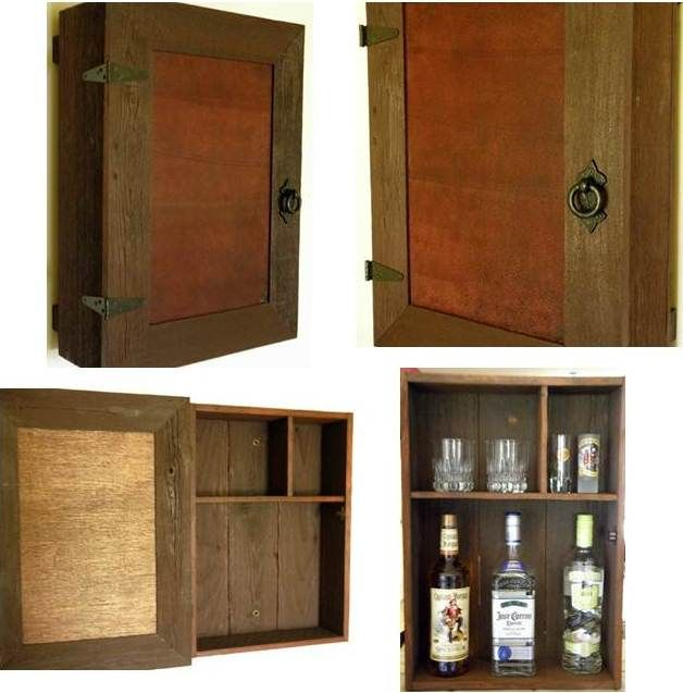 Beautiful rustic liquor cabinet handcrafted of reclaimed aged cedar featuring a faux leather front panel and decorative hardware. Lower shelf holds bottles up to 13 inches  tall and the two upper shelves are perfect for storing drinking and shot glasses.