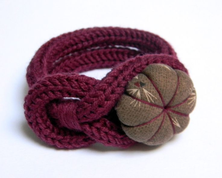 Burgundy knitted wool yarn bracelet Noemi, handmade japanese fabric flower button, tied up, yarn jewelry. €18.00, via Etsy.