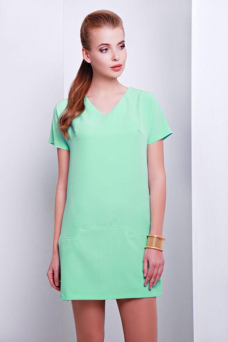 Прямое светло-зеленое платье короткое Космо к/р. Цвет: салатовый