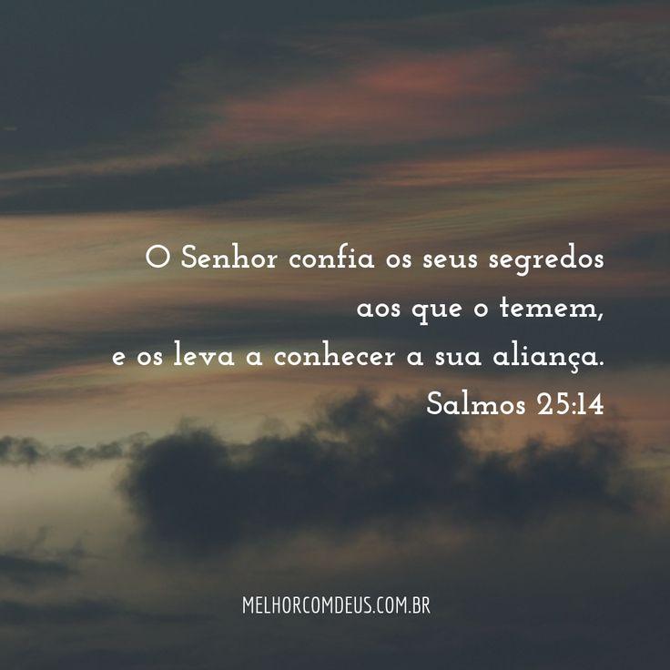 """""""O Senhor confia os seus segredos aos que o temem, e os leva a conhecer a sua aliança."""" Salmos 25:14"""