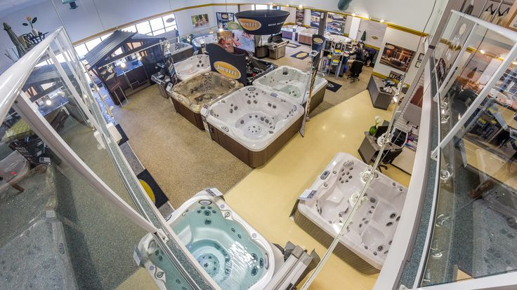 Inside Eden Spas Store in Prince George, BC. One of the best selections in Hot Tubs.