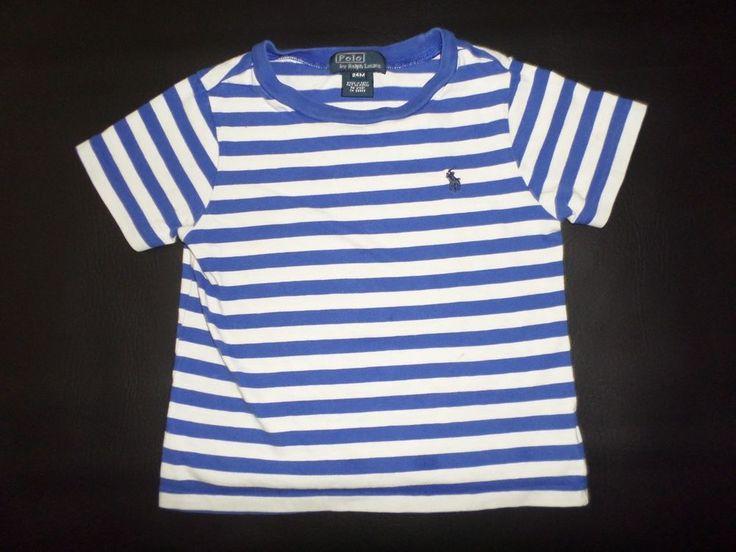 Kids Size 24 M polo Ralph Lauren T shirt White Blue Short Sleeve Striped Boys #RalphLauren