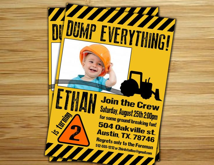Construction Birthday Party Invitation / invite - Personalized DIY Construction site birthday party decorations. $18.00, via Etsy.