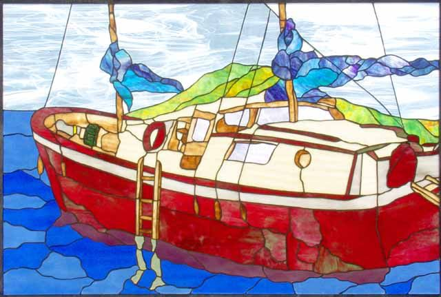 """stained glass boats 