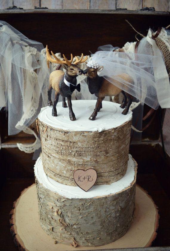 Elk Hunter Wedding Cake Topper Hunting Groom Camo