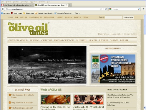 International Technical Course on the top of Olive Oil Times website!
