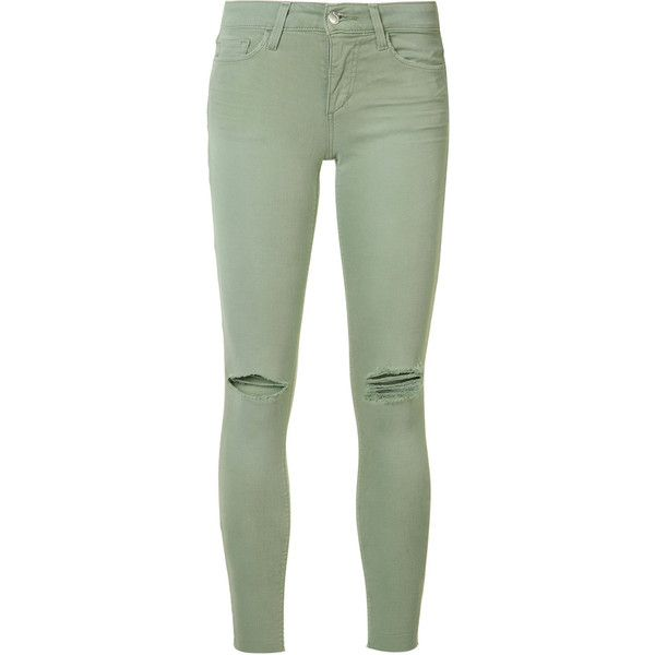 Joe's Jeans ripped super skinny jeans ($189) ❤ liked on Polyvore featuring jeans, pants, bottoms, green, olive green jeans, skinny fit jeans, destructed skinny jeans, skinny leg jeans and destroyed jeans