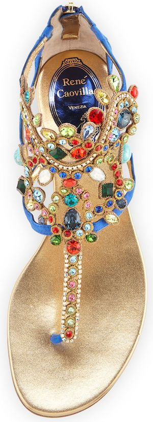Rene Caovilla Crystal-Chandelier Thong Sandal, Bluette/Multi