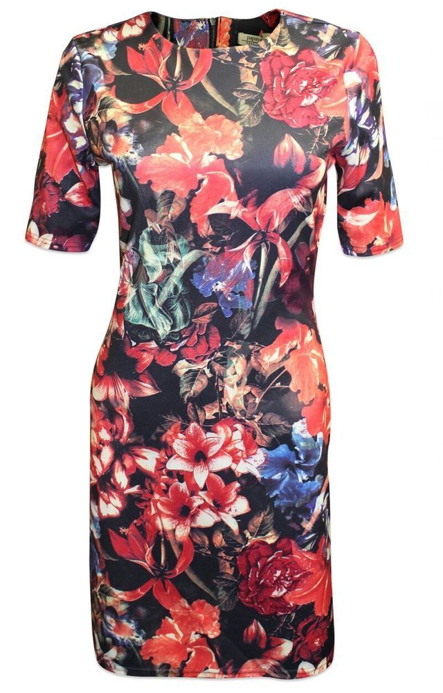 New Papaya Weekend Black Blue Red Multi Floral Scuba Bodycon Midi Dress 8 to 18