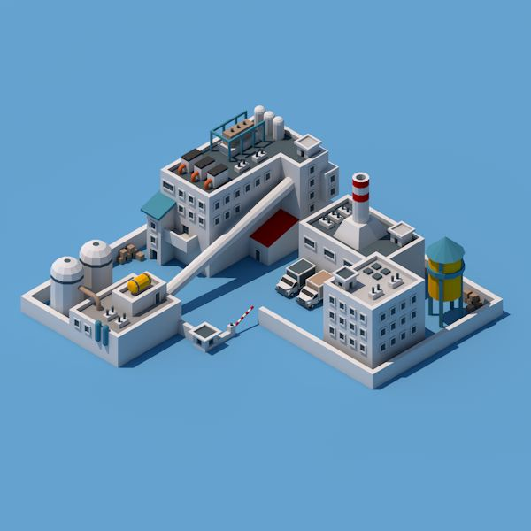 #plant #factory #low #poly #isometric #3d