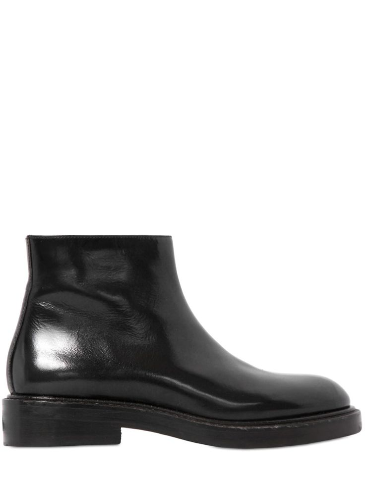 STRATEGIA - 30MM BRUSHED LEATHER ANKLE BOOTS - LUISAVIAROMA