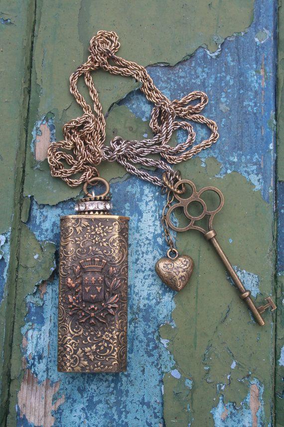 Assemblage necklace Gothic Castle unique Match safe vesta