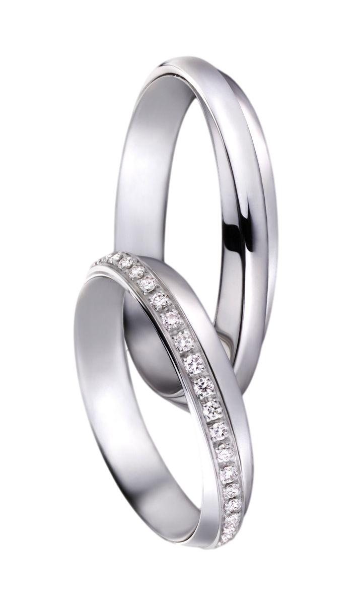 Snubní prsteny P2546 z bílého zlata.Dámský prsten zdoben brilianty.